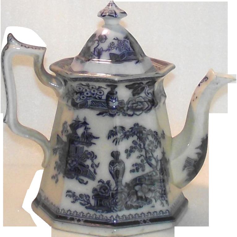 Victorian Flow Blue Coffee Pot Jeddo Pattern by William Adams 1849
