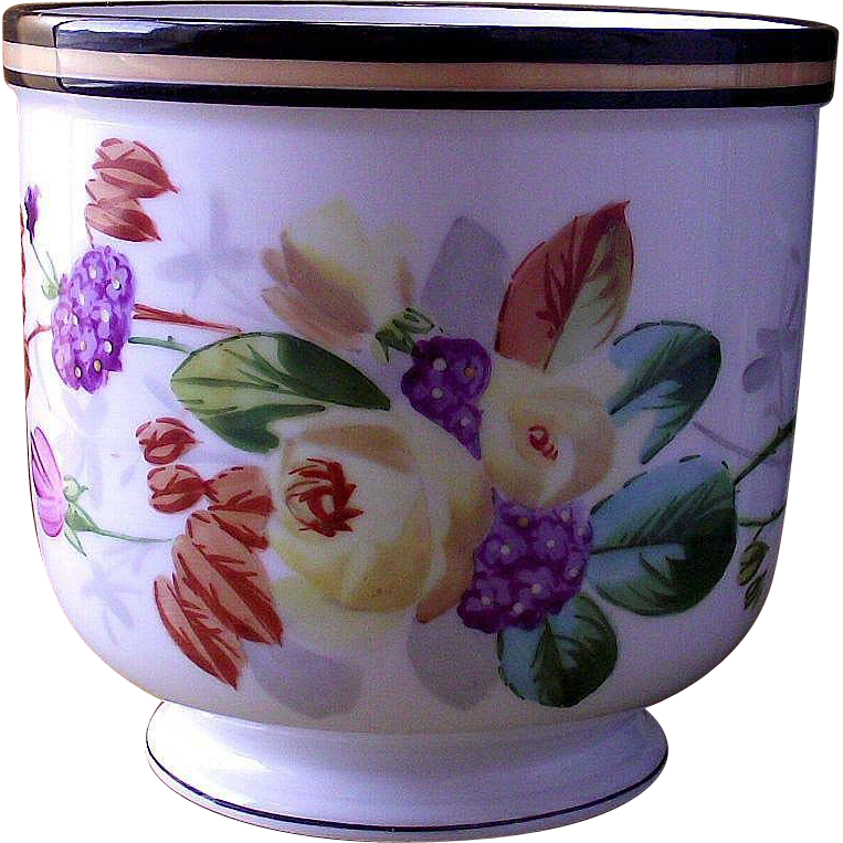 Vintage Cache' Pot Bouquet of Purples, Pink, Yellow Flowers and a Dragon Fly  Hand Painted