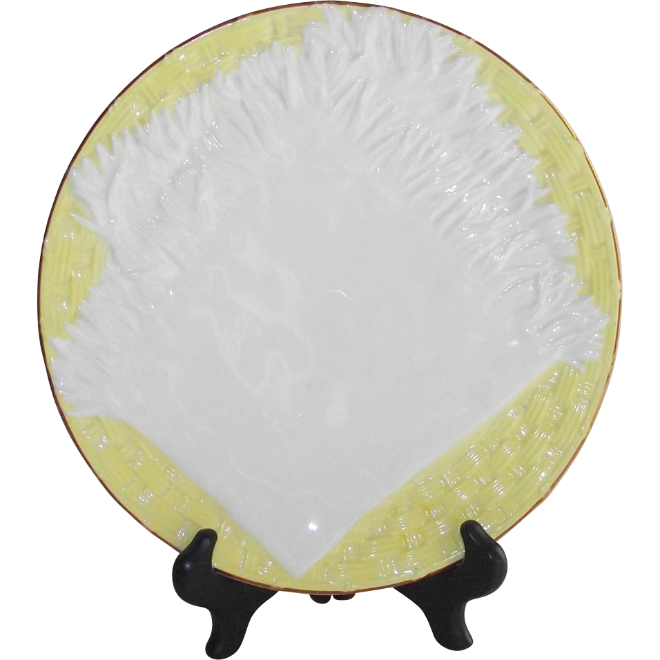 Victorian English Majolica Napkin on Basket Pattern Plate Lemon Yellow on White Circa 1877
