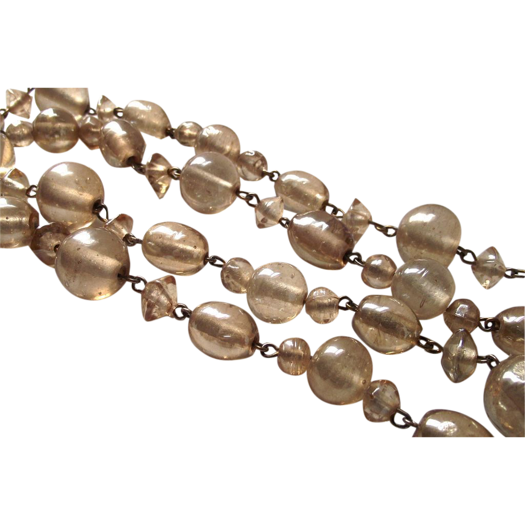 Vintage Venetian Glass Gold Foil Bead Necklace