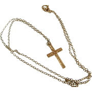 Vintage Yellow Gold Cross 10Kt with Gold Fill Chain