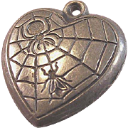Vintage Sterling Silver Spider and the Fly Puffy Heart Charm