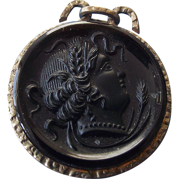 Vintage Watch Fob Gold Filled Root Beer Glass Cameo Victorian Era