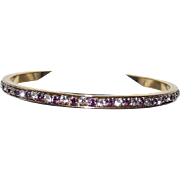 Vintage Purple and White Rhine Stone Hard Bangle Bracelet