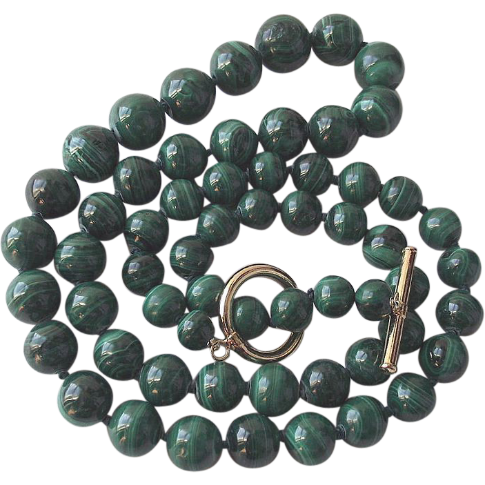 Vintage Graduated Malachite Bead Necklace with Toggle Bar Clasp