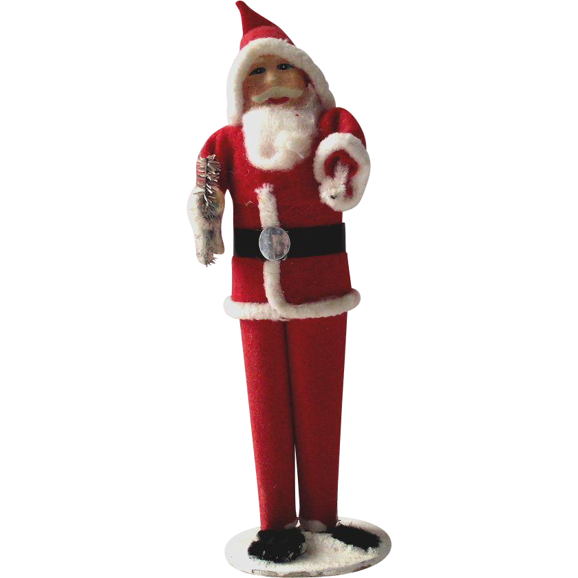 Vintage Santa Claus Paper Mache' Face Japanese Holding Tree