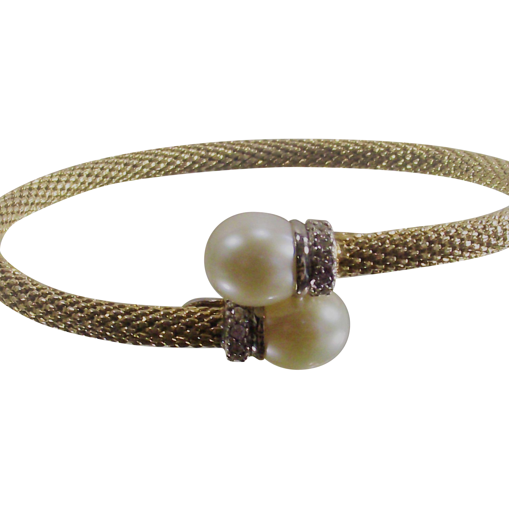 Vintage Cultured Pearl By Pass Style Bangle Gold Over Silver with CZ's