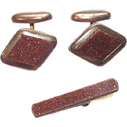Vintage Gold Stone Cuff Links and Matching Tie Clip Brooch