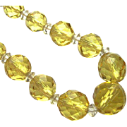 Vintage Art Deco Lemon Yellow Faceted Glass Necklace with Sterling Clasp - Red Tag Sale Item