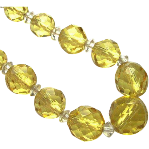 Vintage Art Deco Lemon Yellow Faceted Glass Necklace with Sterling Clasp
