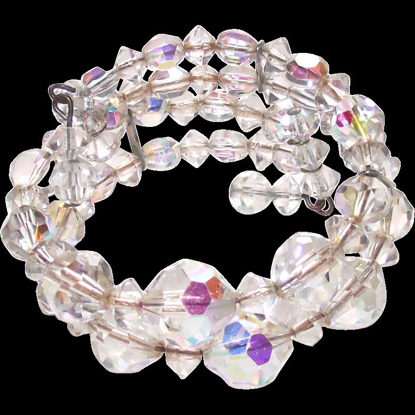 Vintage Aurora Borealis Glass Stretch Bangle Bracelet