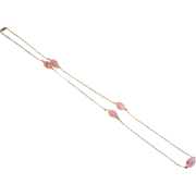 Vintage Pink Molded Glass Station Necklace with Silver Chain