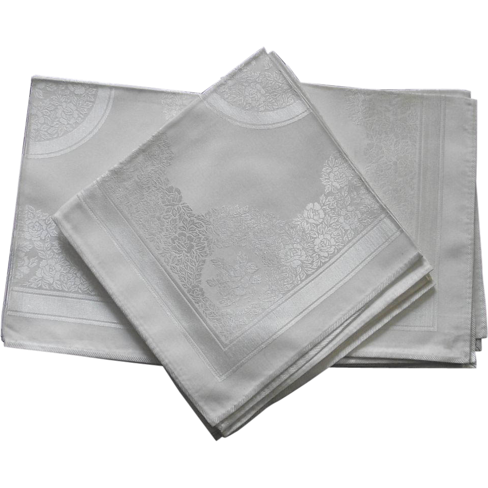 Six Damask Linen Cream Color Dinner Size Napkins ROSES