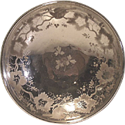 Vintage Mercury Glass Bowl Victorian Decorated  with Birds Leaves and Berries