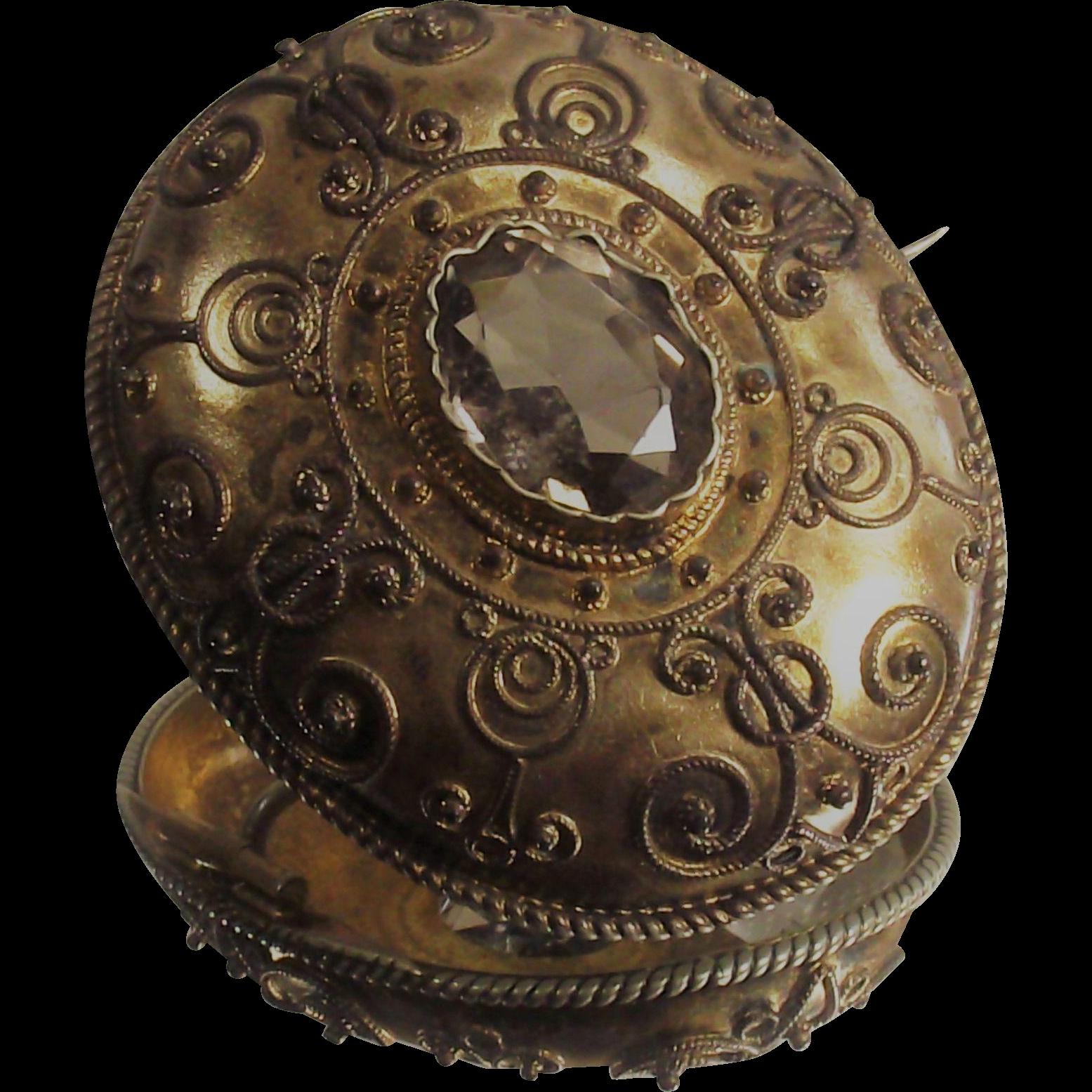 Victorian Citrine Brooch Gilt over Silver Etruscan Circa 1850