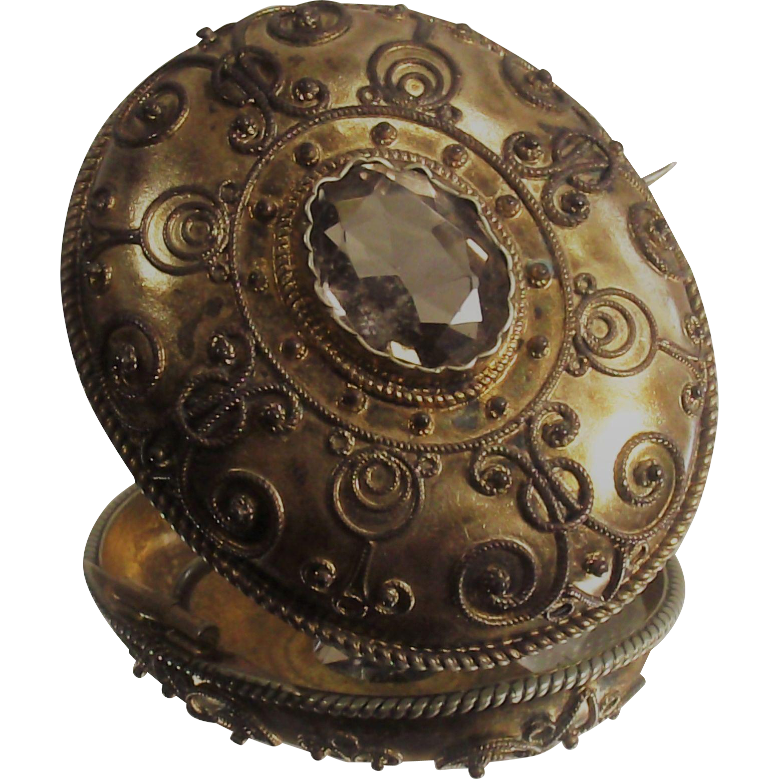 Victorian Citrine Brooch Gilt over Silver Etruscan Circa 1850