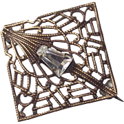Vintage Brooch Circa 1920s Square Fretwork with a Kite Shaped Clear Paste Stone