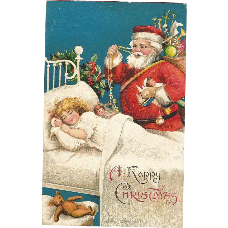 "Vintage Ellen Clapsaddle ""Santa and Sleeping Little Girl"" Post Card"