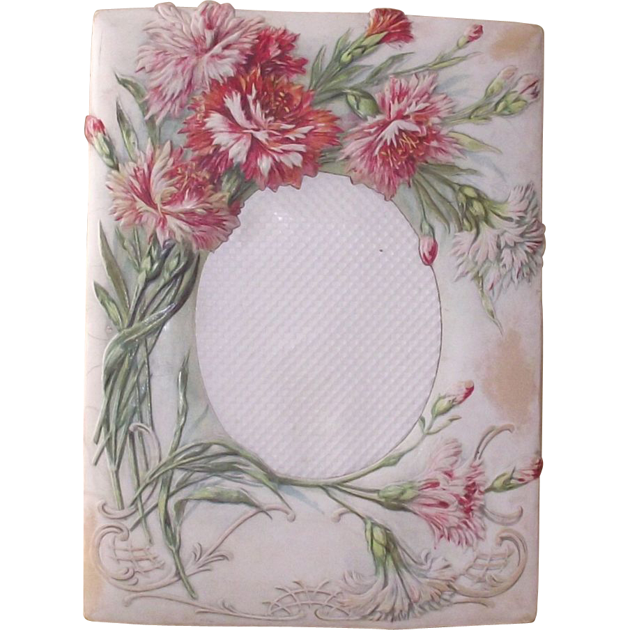 Victorian Pink and Red Carnations  Embossed Paper Picture Frame
