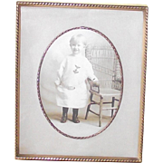Vintage Picture Frame with a Velvet Back & Easel and Fabric Matte  circa 1920's