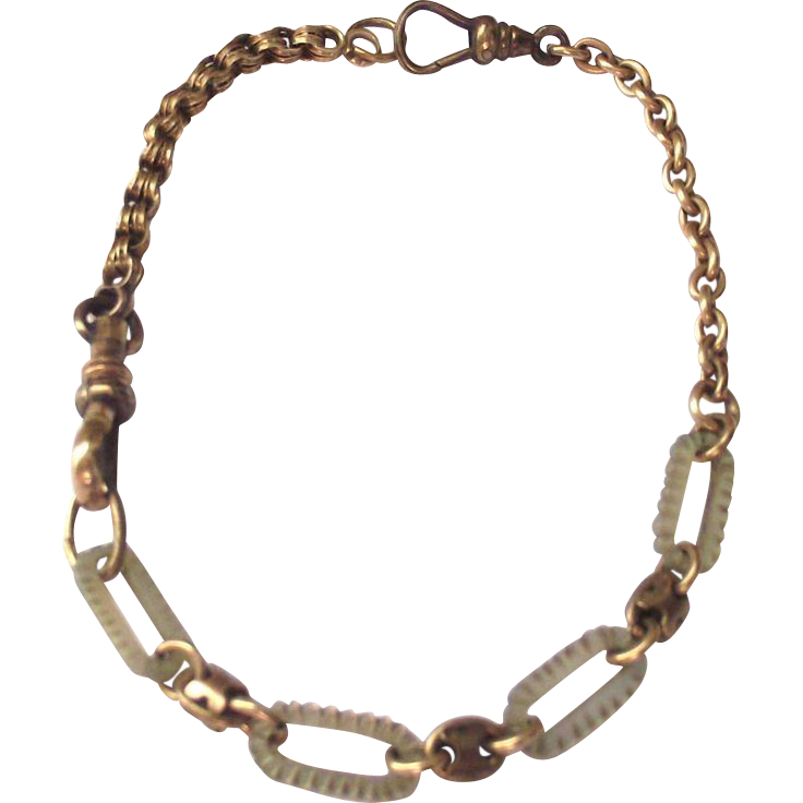 Victorian Mother of Pearl Watch Chain Bracelet Perfect for Charms and Fobs