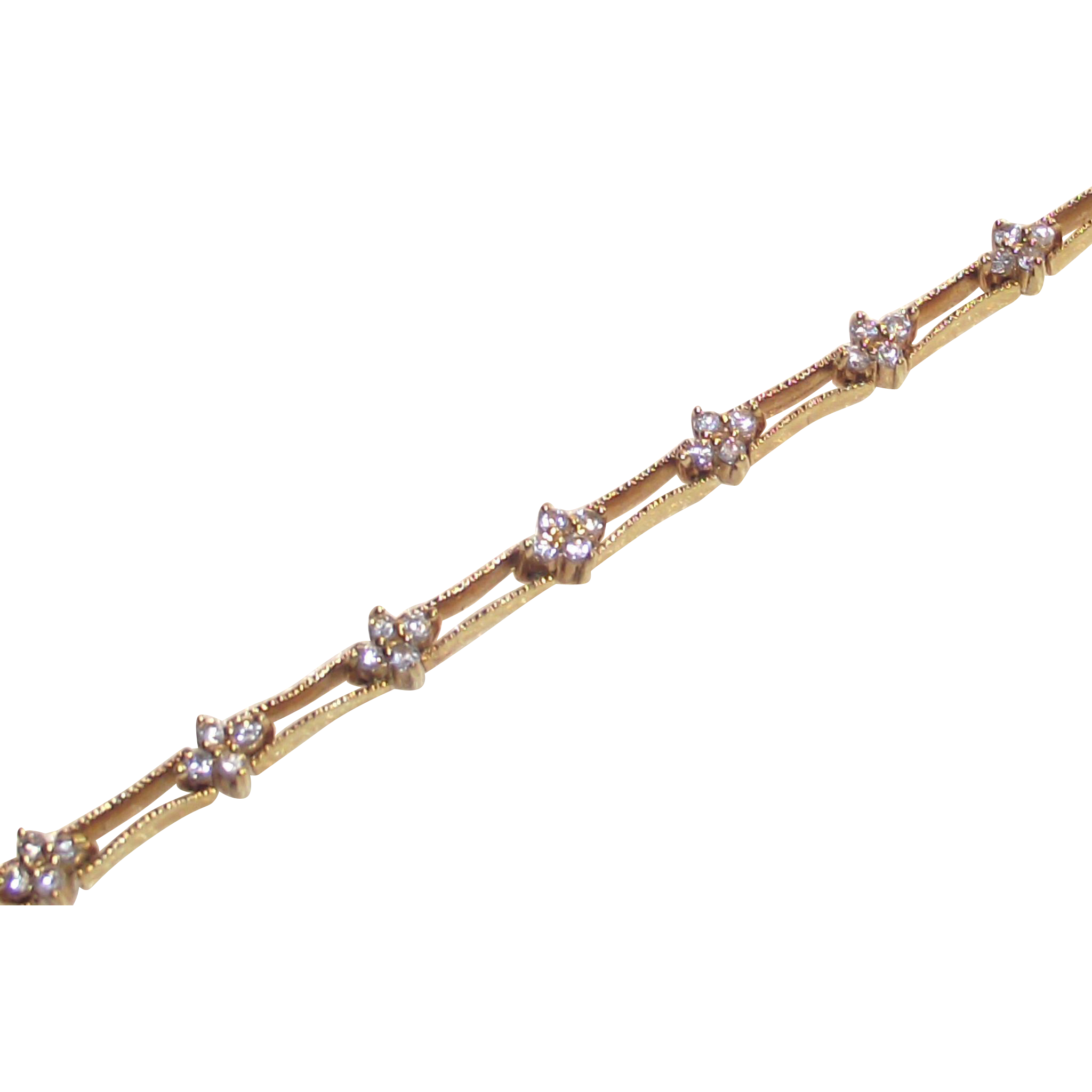 Vintage Tennis Bracelet Gold Vermeil over Sterling with Clear CZ's