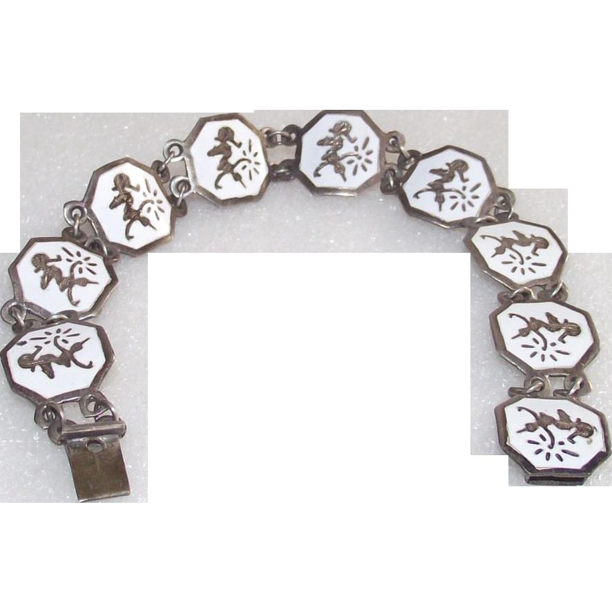 Sterling Silver Enameled Mekkala Niello Siam Bracelet