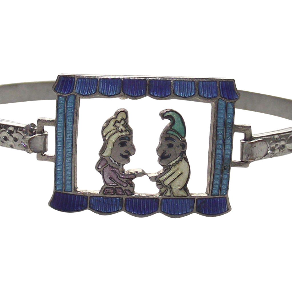 Vintage Punch and Judy Childrens Enameled Bangle Bracelet
