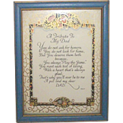 Vintage Father Motto Framed and Artist Signed MAH