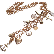 Vintage Faith - Hope - Charity & Mustard Seed Charms On Victorian Wicker Necklace