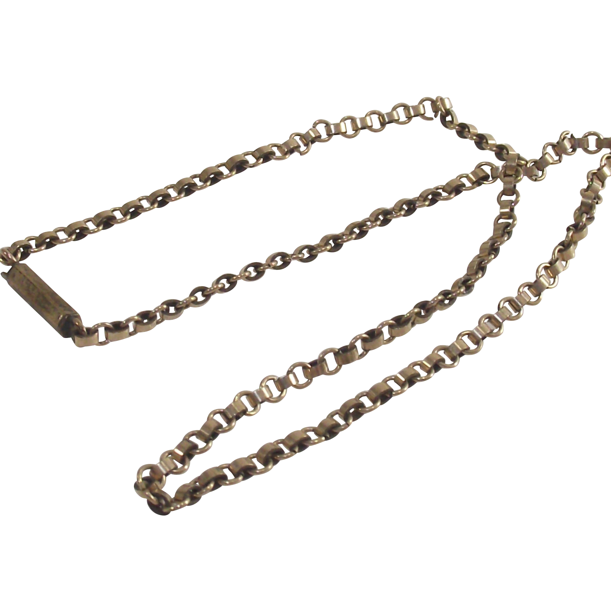 "Vintage Box Link Chain Gold Fill  10"" Ankle Length"