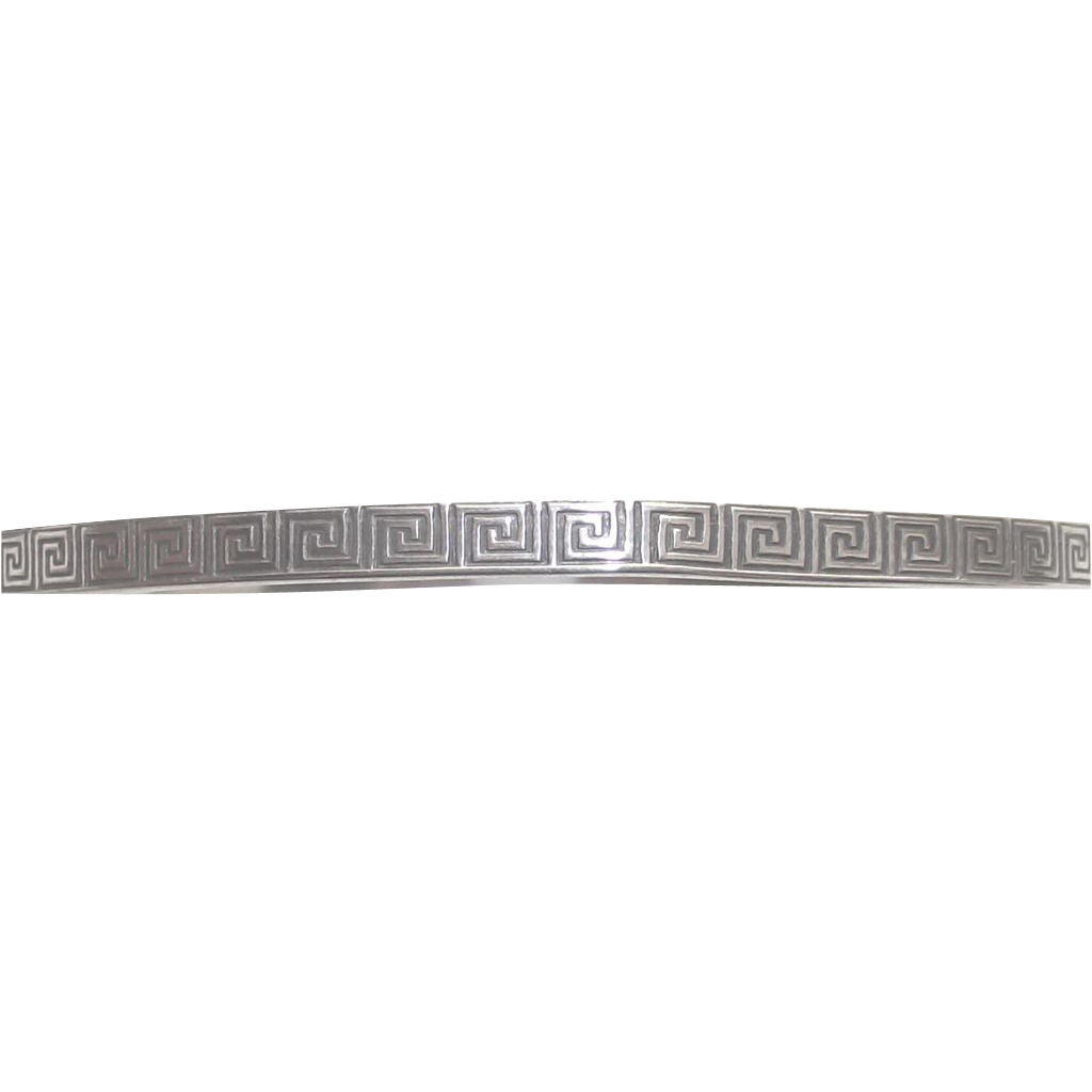 Vintage Greek Key Pattern Sterling Silver Bangle Bracelet
