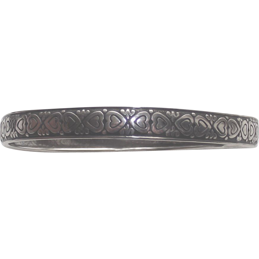 Vintage Sterling Bangle Wide with Hearts all the way Around