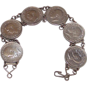 Vintage World War Two Silver 3 Pence Coin Sweetheart Bracelet George V - VI