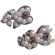 Vintage Purple Heart Stones in Pair of Small Flower Brooches