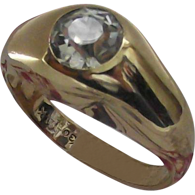 Vintage Gypsy Set Clear Stone Ring sz 10.5 Gold Fill Gentlemans or Ladies