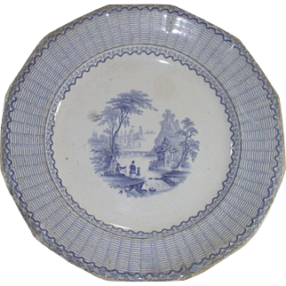 Victorian Pearl Ware with Light Blue Transfer Ivanhoe Pattern