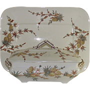 SOLD  Aesthetic Movement Ridgeway Pineapple Pattern Covered Dish and Matching Platter  SOLD
