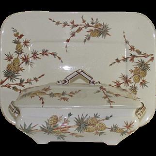 Aesthetic Movement Ridgeway Pineapple Pattern Covered Dish and Matching Platter