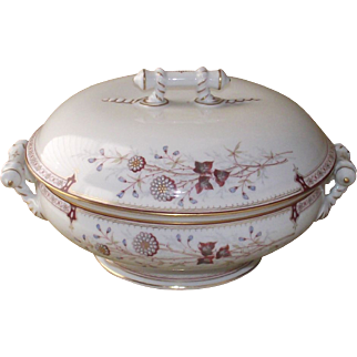 Victorian era English Transfer Ware Covered Dish Clobbered Paint