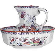 English Georgian Mason's 1813-1829 Pitcher and Bowl Polychrome Chinoiserie Ironstone