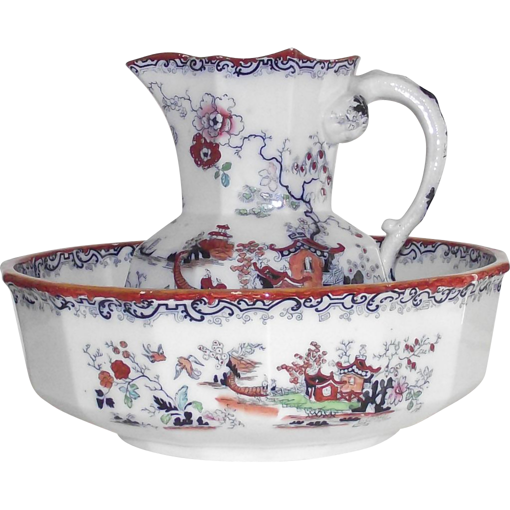 SOLD English Georgian Mason's 1813-1829 Pitcher and Bowl Polychrome Chinoiserie Ironstone SOLD