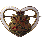 Vintage Canadian Maple Leaf Brooch C.1900 Heart Shaped Enamel with Canadian Maple Leaves and Crown