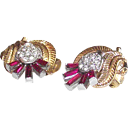 Vintage Hot Pink Crown Trifari Gold Tone Clips with Baguette Stones