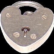 Vintage Silver Padlock Bracelet Charm or Fob