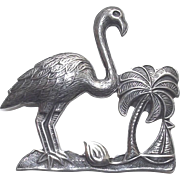 Vintage Flamingo Sterling Silver Palm Tree & Sail Boat Brooch