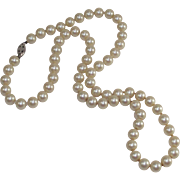 Vintage Glass Pearls Silver Clasp and  Double Pearl Screw Back Earrings