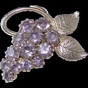 Vintage Kunzite Pink Rhinestone Grape Cluster Brooch
