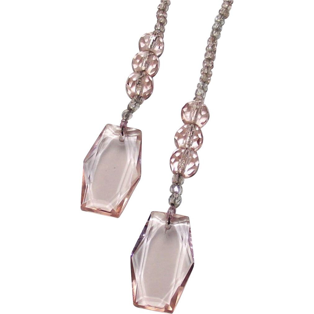 Vintage Art Deco Pink and Clear Lariat