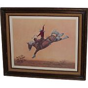 Vintage Rodeo Saddle Bronc Rider John McBeth Autorgaphed Framed Print 1974 World Champion